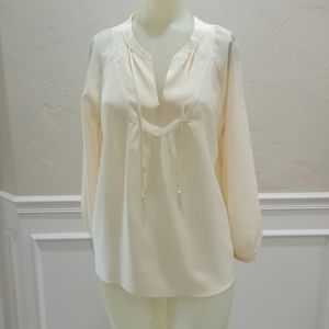 Broadway and Broome cream silk blouse